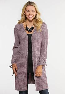 Ruched Sleeve Cardigan