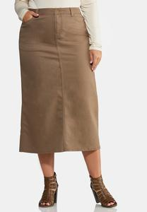 Plus Size Walnut Denim Skirt