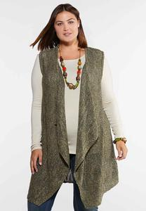 Plus Size Speckled Waterfall Cardigan
