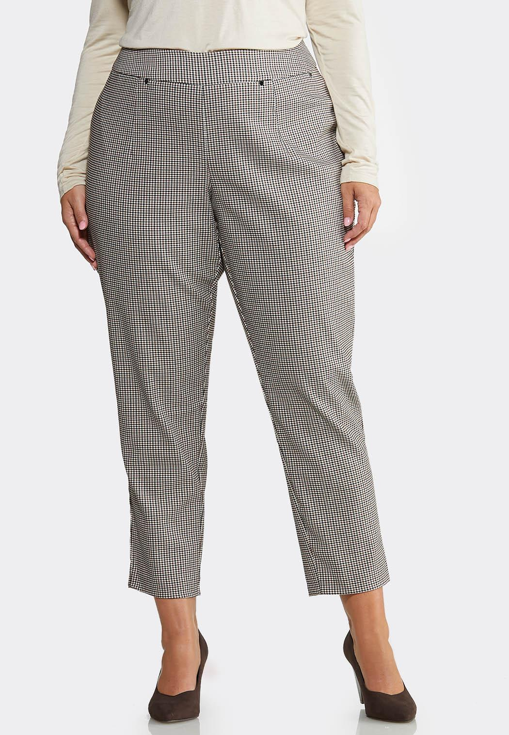 Plus Size Slim Checkered Ankle Pants