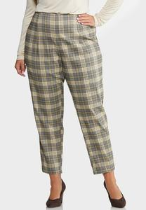 Plus Size Slim Plaid Ankle Pants