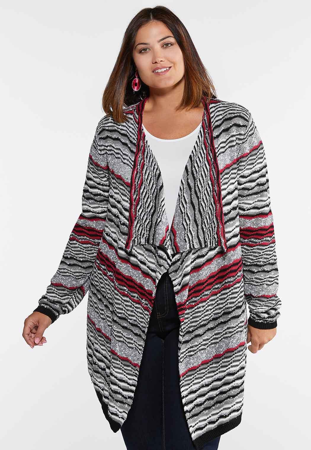 Plus Size Raspberry Wave Cardigan Sweater Sweaters Cato Fashions