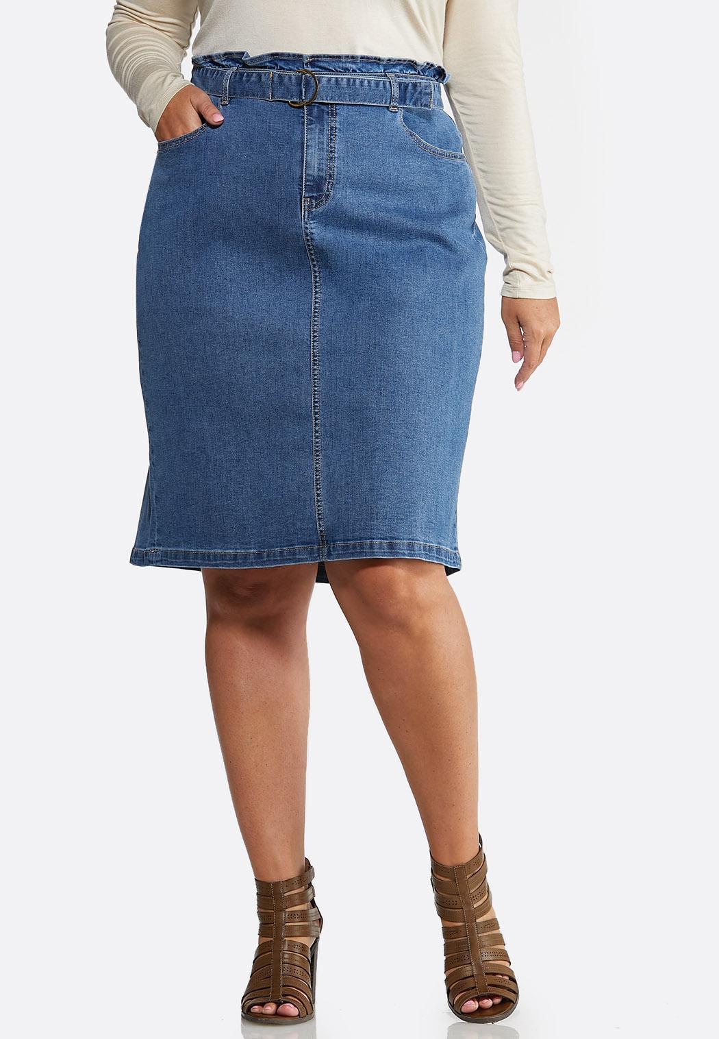 Plus Size Paperbag Denim Skirt