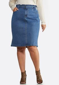 Plus Size Paperbag Denim Skirt