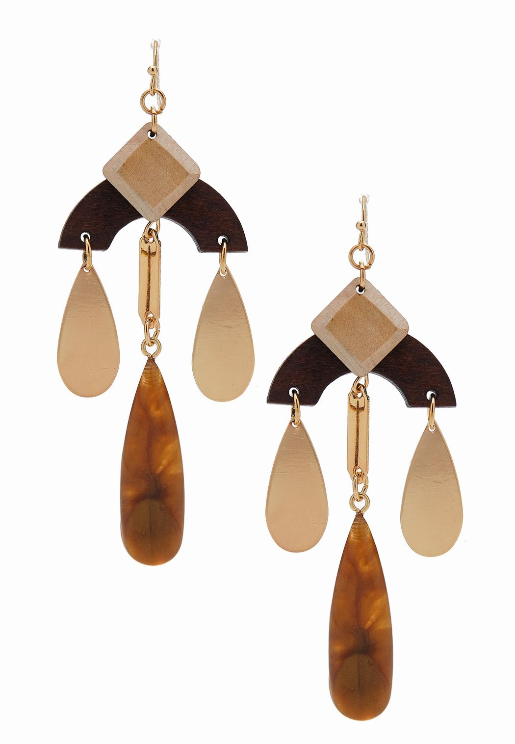 Mixed Wooden Shape Earrings