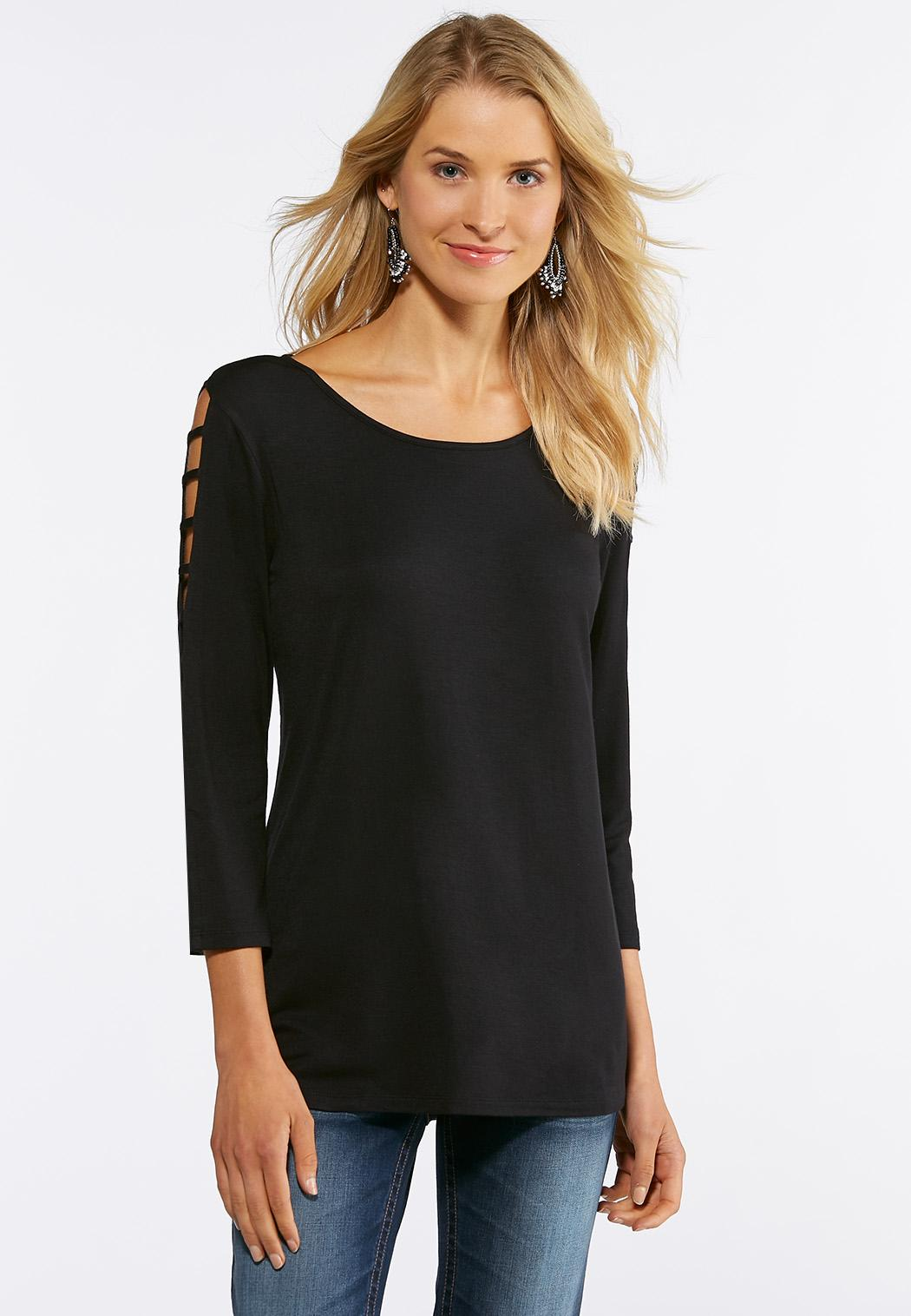 Plus Size Ladder Sleeve Knit Top