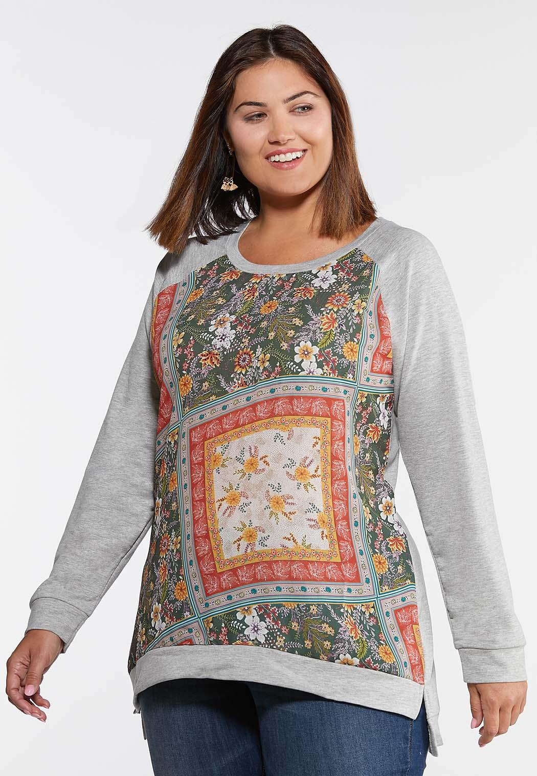 Plus Size Embellished Patchwork Print Top