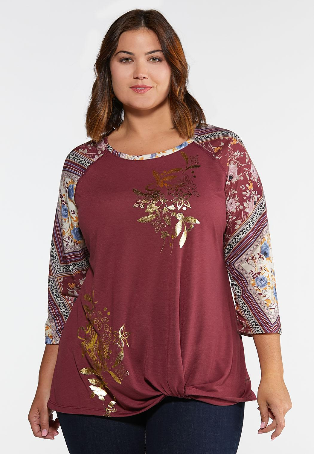 Plus Size Knotted Burgundy Floral Top
