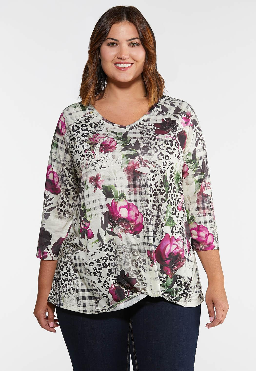 Plus Size Knotted Floral Check Top