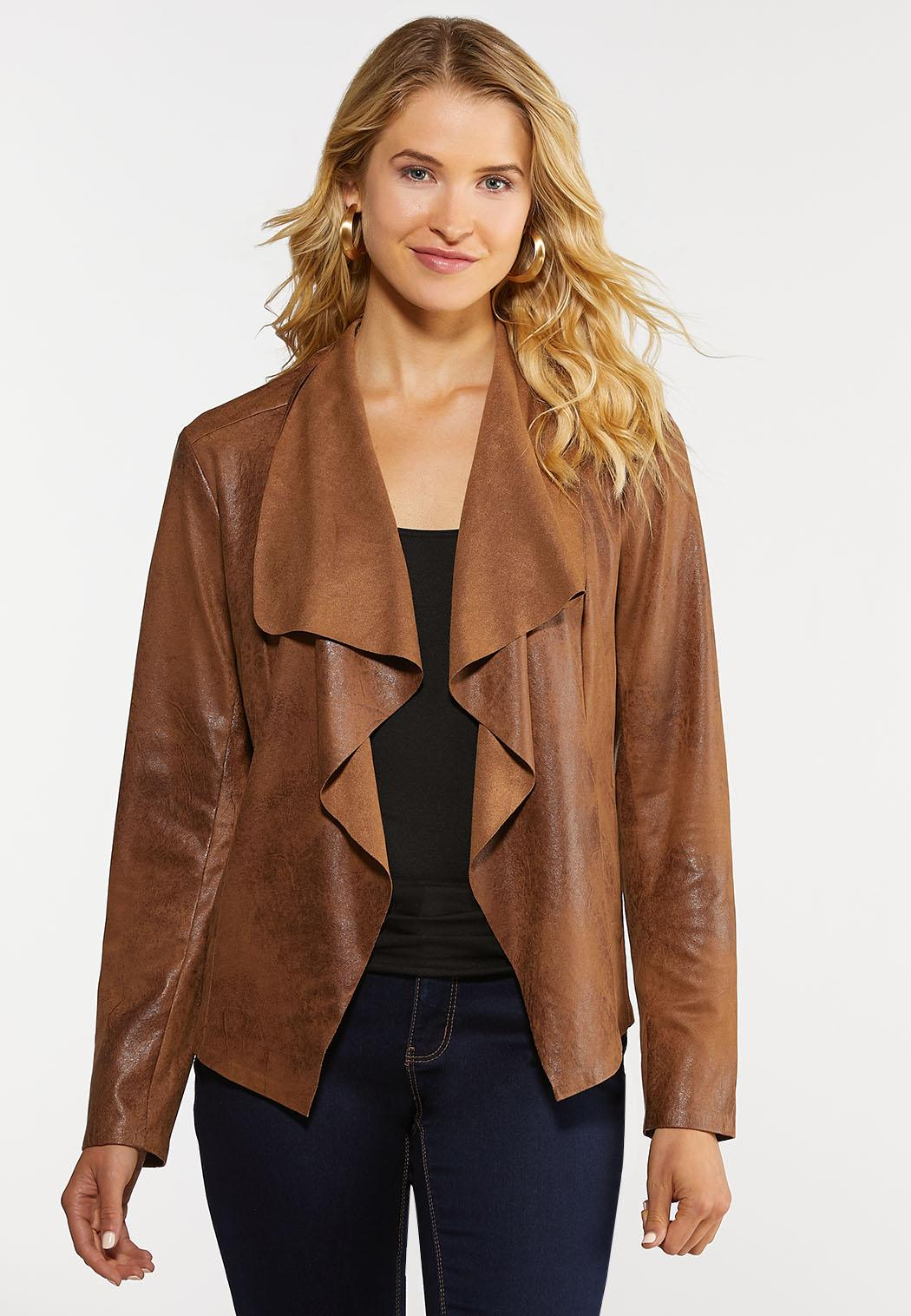 Plus Size Draped Faux Leather Jacket