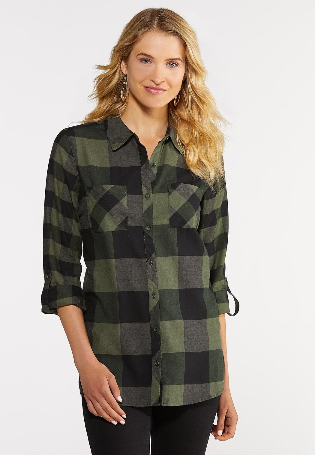 Black And Green Plaid Shirt