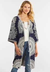 Plus Size Embroidered Navy Kimono
