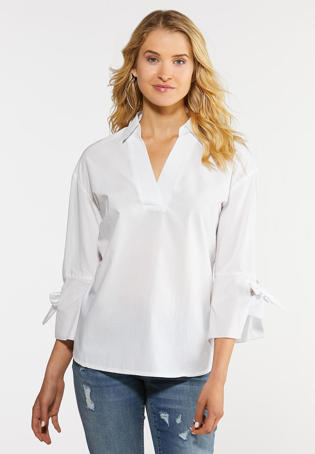 Plus Size White Bell Sleeve Shirt Shirts & Amp ; Blouses Cato Fashions