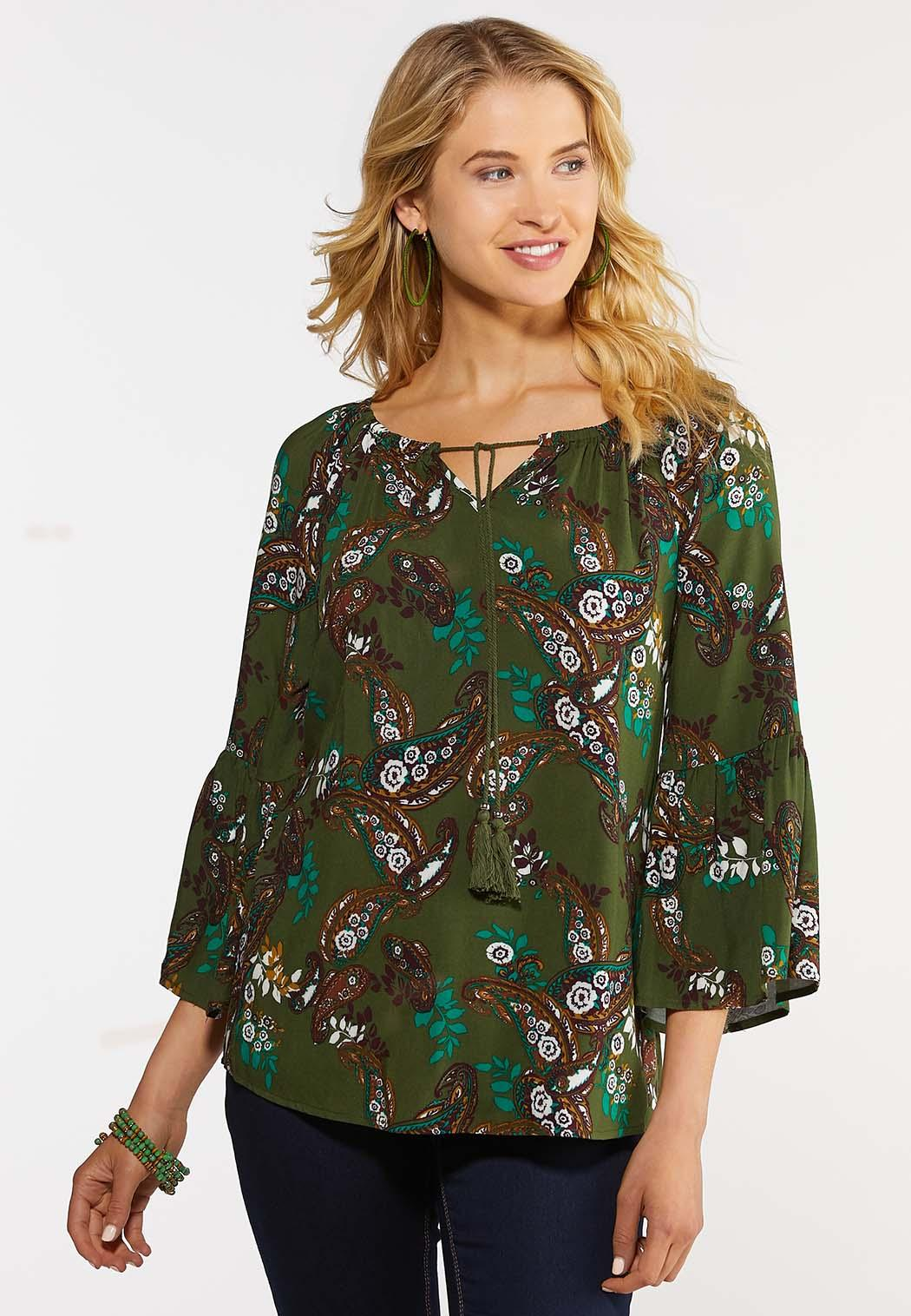Plus Size Olive Floral Paisley Top