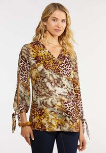 Plus Size In The Jungle Tie Sleeve Top