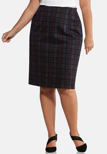 Plus Size Purple Plaid Pencil Skirt