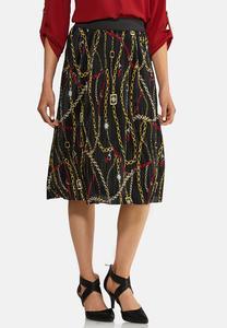 Status Print Pleated Skirt