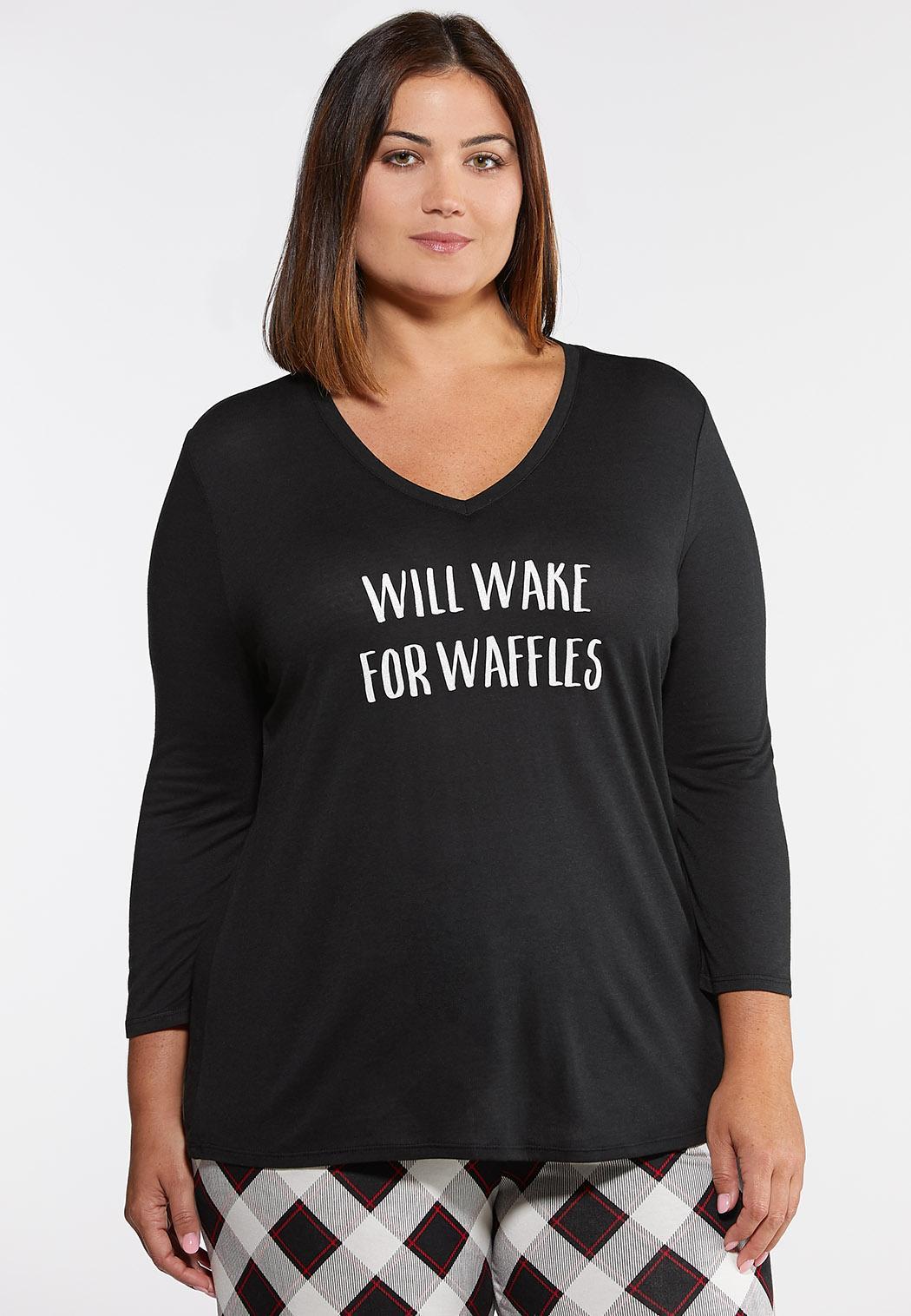 Plus Size Will Wake For Waffles Sleep Tee