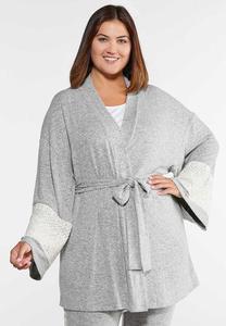 Plus Size Lace Sleeve Lounge Cardigan