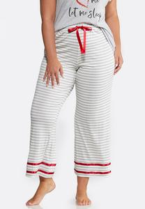 Plus Size Gray Stripe Sleep Pants