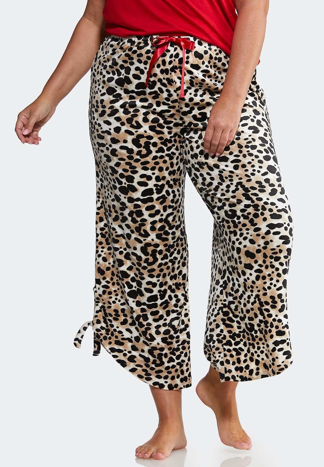 Plus Size Leopard Fleece Lounge Pants