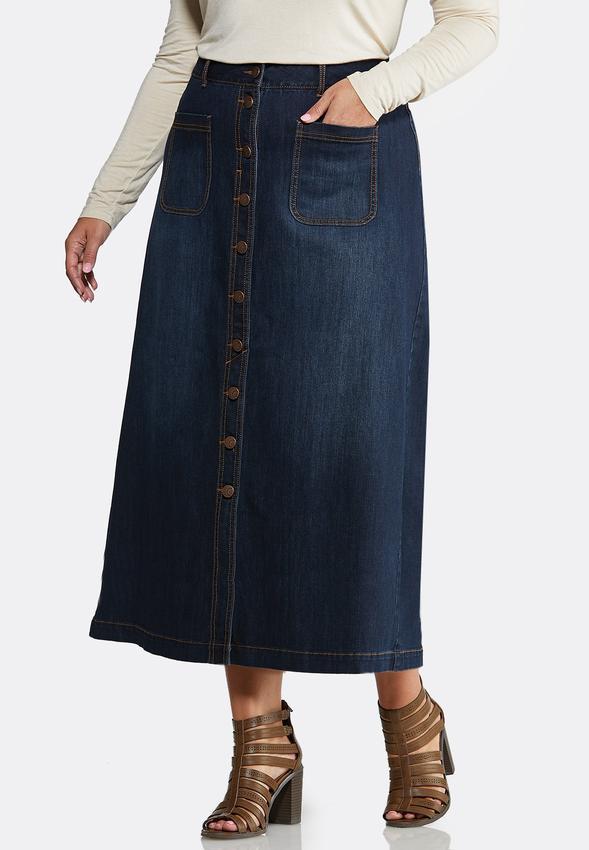 Plus Size Button Front Denim Skirt