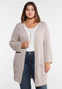 Plus Size Blush Metallic Cardigan