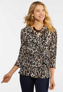 Plus Size Pleated Leopard Faux Wrap Top