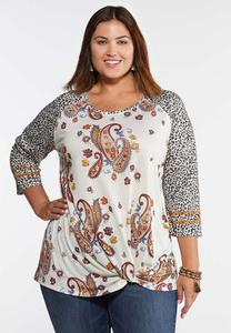 Plus Size Twisted Paisley Leopard Top