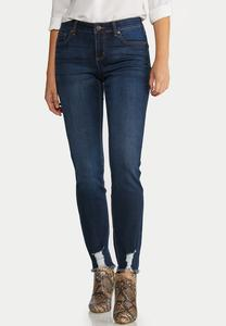 Destructed Hem Skinny Jeans