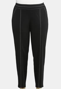 Plus Size Contrast Stitch Pull-On Pants