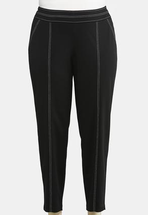 Plus Size Contrast Stitch Pull- On Pants