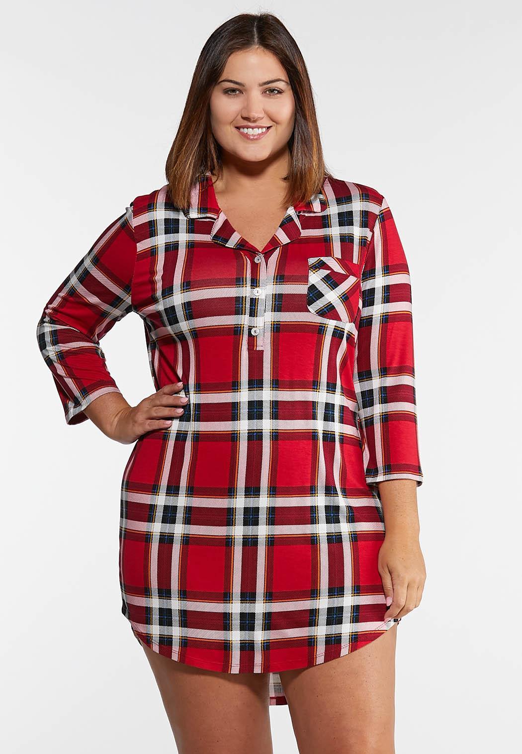 Plus Size Fireside Plaid Sleep Shirt