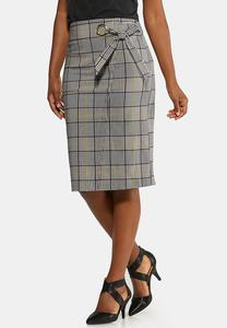 Plus Size Plaid Tie Pencil Skirt