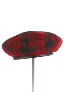 Red Plaid Beret Hat