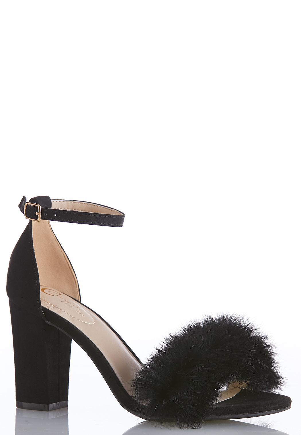 Fur Pom Heeled Sandals