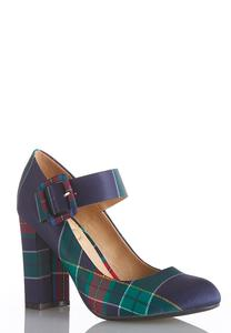 Wide Width Plaid Mary Jane Pumps