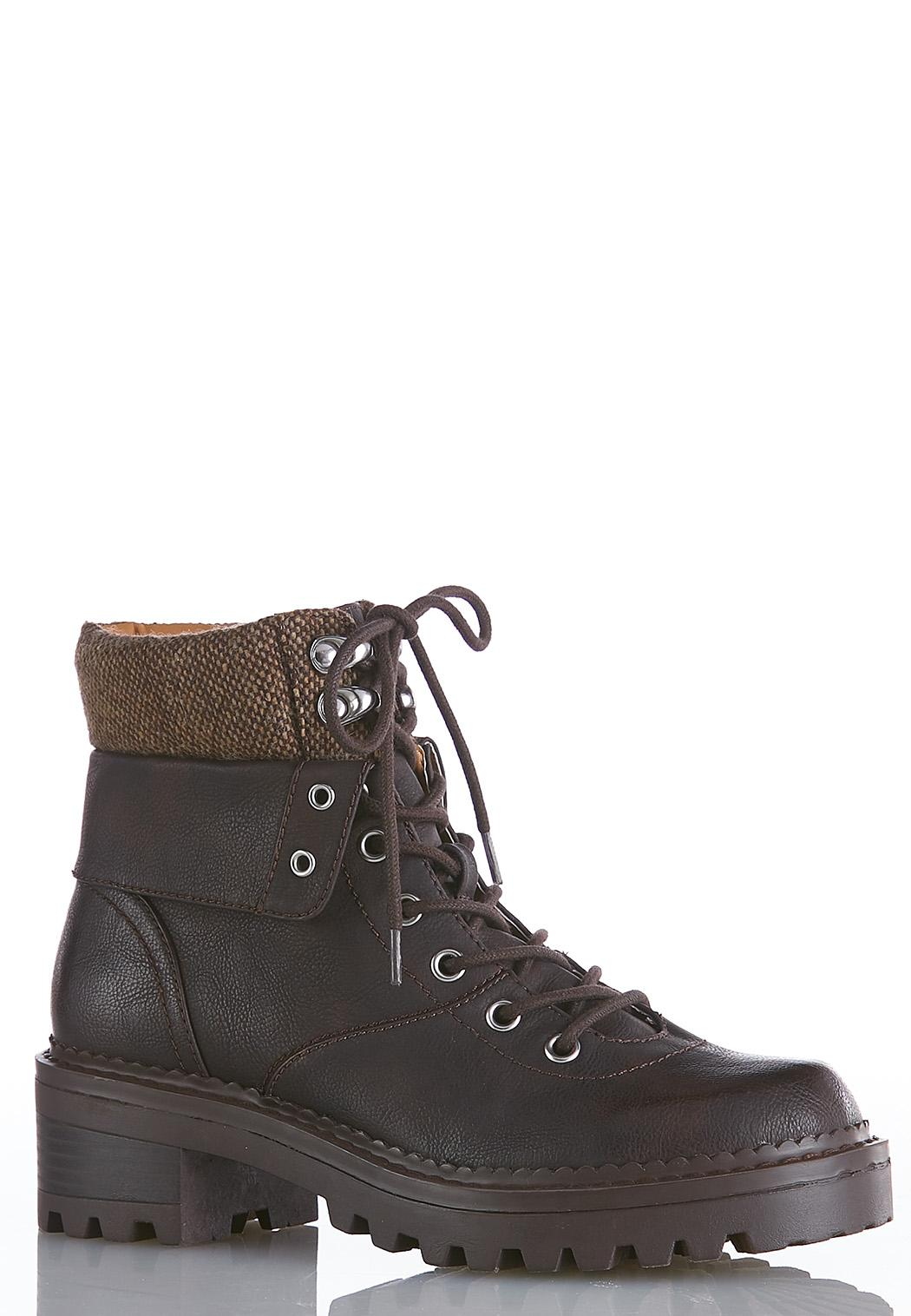 Wide Width Chunky Sole Hiker Boots