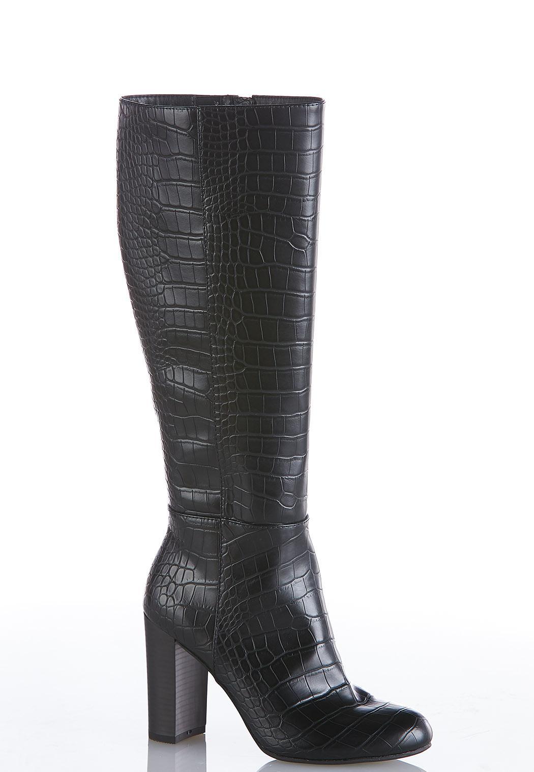 Wide Width Crocodile Tall Boots