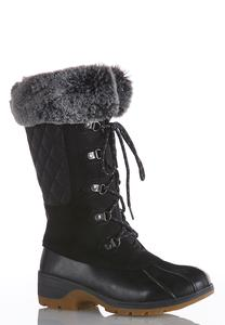 Fur Cuff Tall Duck Boots