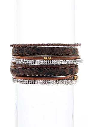 Faux Fur Mixed Band Magnetic Bracelet
