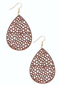 Lacy Faux Leather Earrings