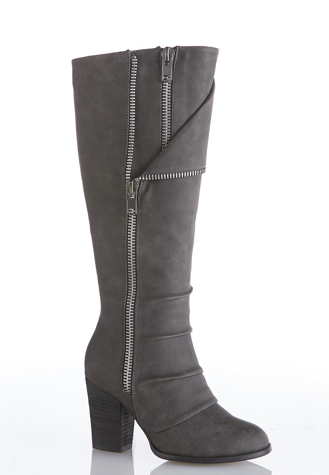 Zipper Detail Tall Boots