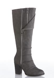Wide Width Zipper Detail Tall Boots