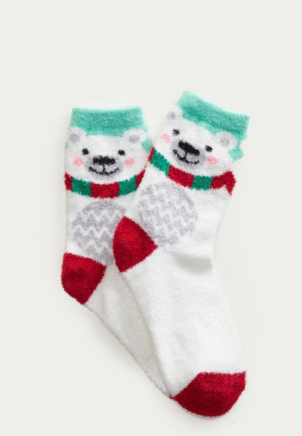 Cute Bear Fuzzy Socks