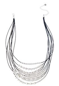 Layered Silver Bead Cord Necklace