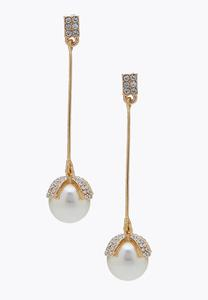 Romantic Rhinestone Pearl Earrings