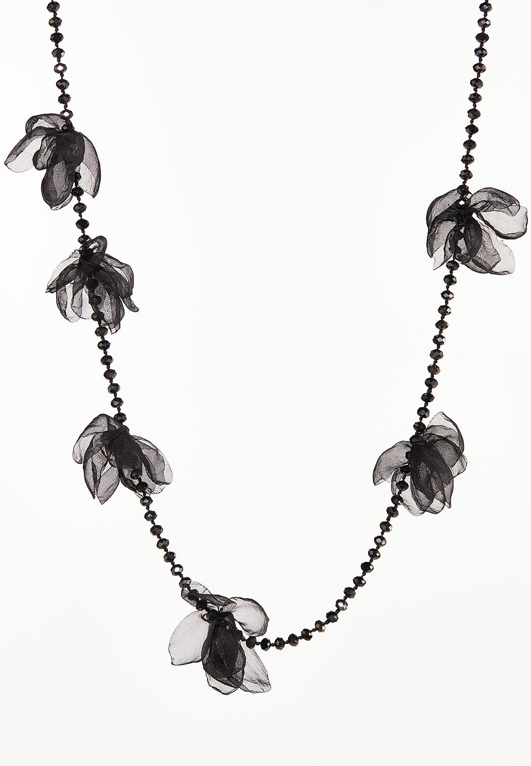 Knotted Fabric Bead Necklace