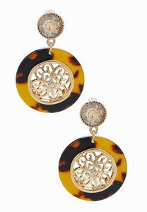 Tortoise Medallion Earrings