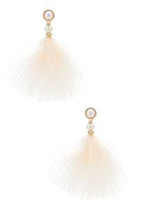 Wispy Pearl Feather Earrings